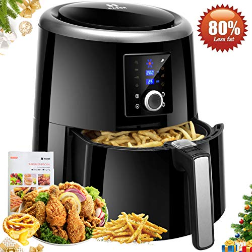 Habor Air Fryer XL, 5.8QT Oilless Air Fryer Oven, 7 Cooking Presets Electric Hot Air Cooker for Healthier Food with Heat Preservation Function, LCD Touch Screen, Dishwasher Safe(Recipes included)
