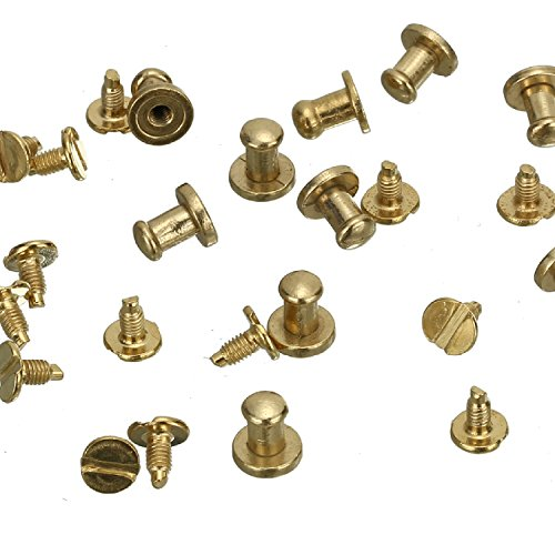 RUBYCA 100 Sets Gold Color Button Spike and Studs Metal Screw-Back Leather-craft DIY 8MM X 8MM ()