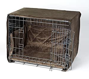 """Complete 3 Pc Dog Crate Bedding Set for SIDE DOOR CRATES ONLY includes Crate Pad, Crate Cover and Bumper - Coco Brown- Small 24"""" by Pet Dreams"""