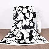 Sleepwish Panda Plush Blanket Cartoon Animal Throw Blanket Cute Panda Bears Graphic Pattern Kids Blankets Fleece (50x60 Inches)