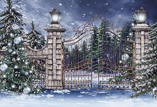 Leowefowa Snow Wonderland Backdrop 8x6ft Vinyl Iron Gate Falling Snowflake Outdoor Christmas Photography Backgroud Year Party Winter Landscape Children Adult Photo Studio Portraits (Wicker Gate)