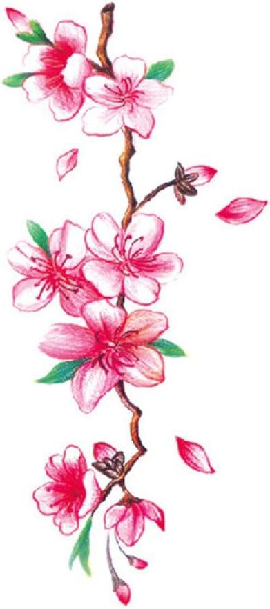 jieGorge/♥ Stickers Flower Temporary Tattoos Lotus Cherry Blossoms Flash Tattoo Sticker For Women Men Kids Body Decor
