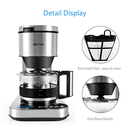 BESTEK 10 Cup Drip Coffee Maker in Stainless Steel, Programmable and Aroma Control, with Permanent Filter by BESTEK (Image #4)
