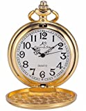 MIX & ROCK KS Golden Steel Case Vintage Polished Pendant Chain Quartz Awesome Pocket Watch KSP003