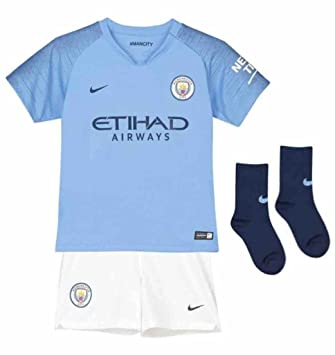 Nike 2018-2019 Man City Home Little Boys Mini Kit