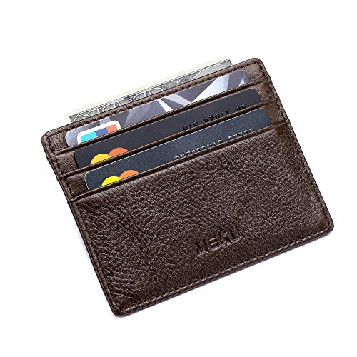 MEKU Slim Front Pocket Leather Wallet Business Credit Card Case Sleeve Minimalist Wallet with ID Window Chocolate