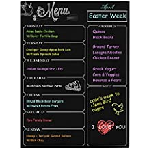 "Weekly Board Newcomdigi Magnetic Refrigerator Dry Erase Black Board Dinner List Meal Planner Note Area for Shopping List Diabetic Meal Prep Planning 16 ""X 12"""
