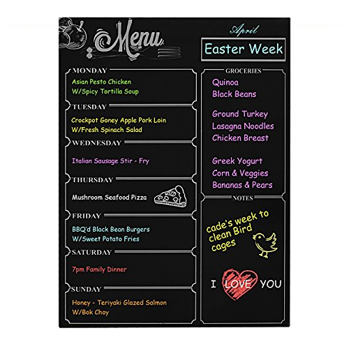 """durable modeling Weekly Board Newcomdigi Magnetic Refrigerator Dry Erase Black Board Dinner List Meal Planner Note Area for Shopping List Diabetic Meal Prep Planning 16 """"X 12"""""""