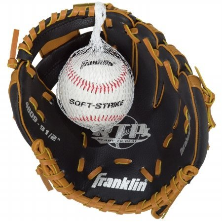 (Franklin Sports Black & Tan Baseball Glove with Ball)