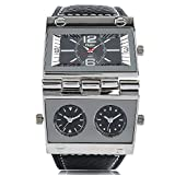 Watches for Men Women, OULM Large Watch for Men, Rectangle Radio Style Gig Dial Unique Quartz Wristwatch