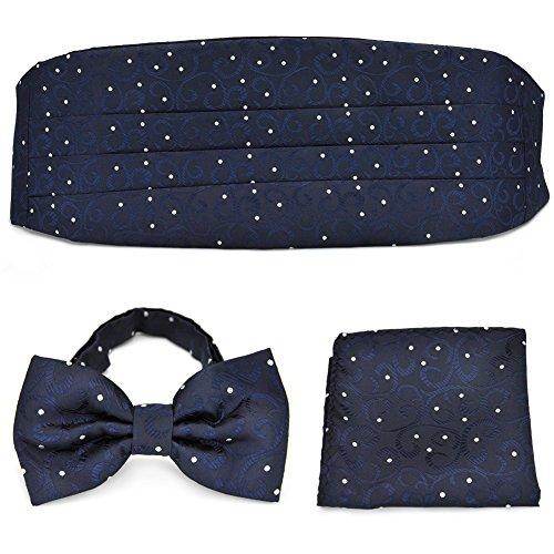 PenSee Mens Formal Cirrus Floral & Dots Jacquard Bow Tie & Pocket Square & Cummerbund Set - Various Colors ()