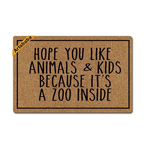 Artsbaba Doormat Personalized Your Text Door Mat Hope You Like Animals Kids Doormats Monogram Non-Slip Doormat Non-Woven Fabric Floor Mat Indoor Entrance Rug Decor Mat 23.6 x 15.7 Inches