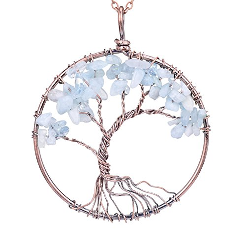 Viola Tricolor Tree of Life Rose Quartz Crystal Pendant Necklace Aquamarine Natural Birthstone Necklace Wire Wrapping Necklace Gemstone Chakra Jewelry Best Gifts for Mother