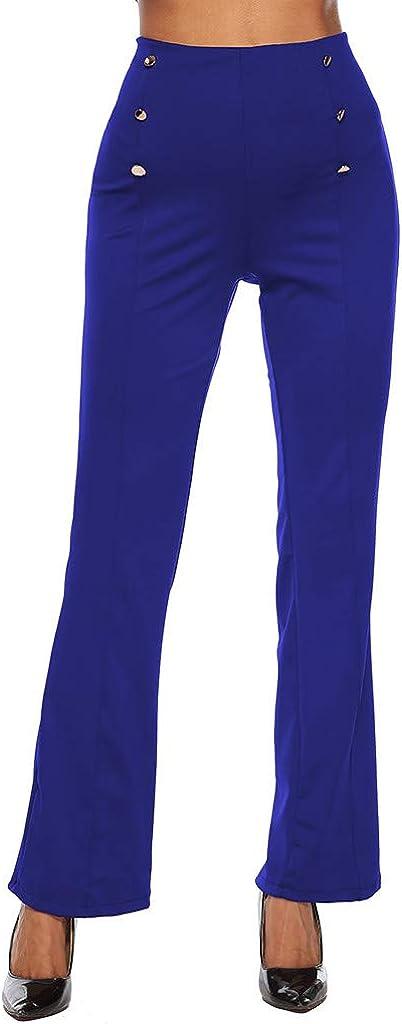 beautyjourney Pantalones Elegantes de Mujer con Botón de Doble ...