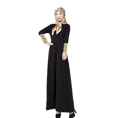 Haodasi Turkey Islamic Women Robes Kaftan Abaya Muslim Long-sleeve ...