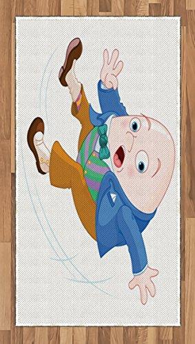 Humpty Dumpty Rug - Lunarable Alice in Wonderland Area Rug, Humpty Dumpty Egg Figure Falling Down Transformation Cartoon Nursery, Flat Woven Accent Rug for Living Room Bedroom Dining Room, 2.6 x 5 FT, Multicolor