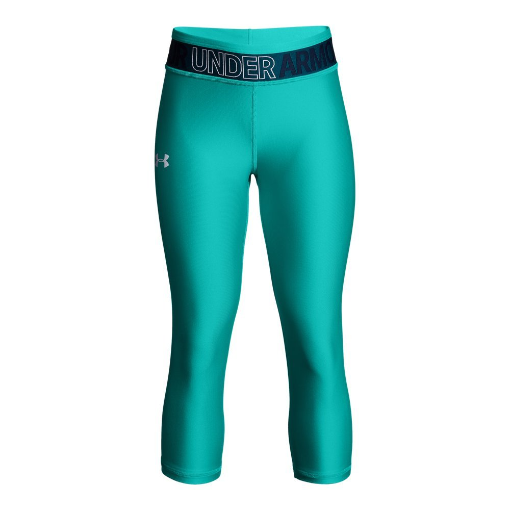 Under Armour Girls' HeatGear Armour Capris, Teal Punch /White, Youth Small