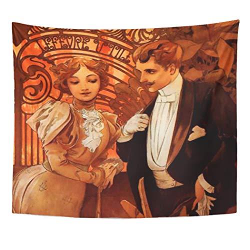 Alphonse Mucha Flowers - Semtomn Tapestry Artwork Wall Hanging Vintage Alphonse Mucha Flirt Paris Mustache Couple Nouveau Flowers 50x60 Inches Home Decor Tapestries Mattress Tablecloth Curtain Print