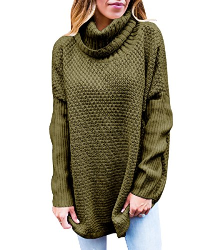 Kathemoi Womens Turtleneck Sweaters Long Sleeve Knit Loose Oversized Pullover Tops