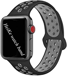 HeiKe Watch Band Compatible for Apple iWatch Band 42mm,Soft Silicone Sport Replacement Wristband with Holes for Apple iWatch Series 1/2/3/4 Nike+ Edition