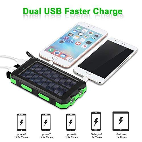FLOUREON 10000mAh Power Bank with Solar Charging Portable Mobile Phone Charger Dual 2.1A USB Output Waterproof External Battery Replacement for iPhone iPad Samsung Galaxy Android