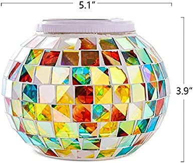 SFgift Color Changing Mosaic Solar Lights Glass Block Ball Led Lights Rechargeable Solar Table Lights Outdoor and Indoor Table Lamps for Garden Tables Bedroom and Outdoor Decorations Ideal Gifts