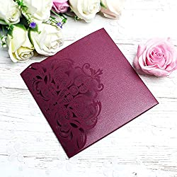 PONATIA 20 PCS Laser Cut 3 Folds Invitation Cards for Wedding Invitations Birthday Engagement Greeting Invitations Cards Use+ Free Envelopes+ Free RSVP Cards (Burgundy)