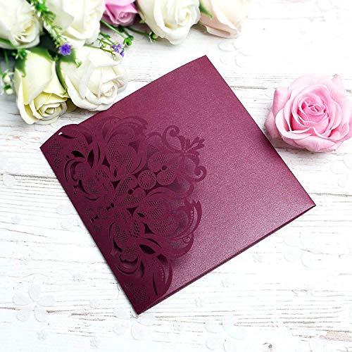PONATIA 20 PCS Laser Cut 3 Folds Invitation Cards for Wedding Invitations Birthday Engagement Greeting Invitations Cards Use+ Free Envelopes+ Free RSVP Cards (Burgundy) ()