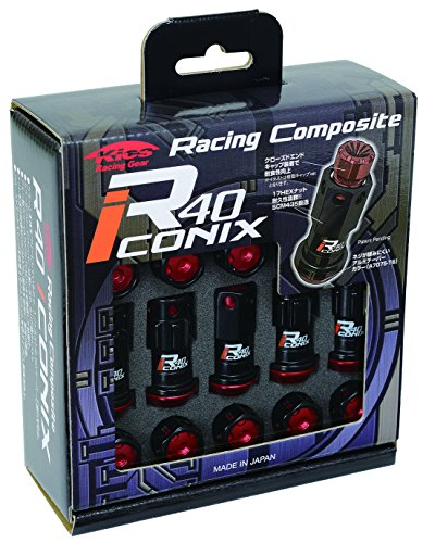 KYO-EI Industry wheel lock & nut Racing Composite R40 iCONIX [M12 x P1.25] with aluminum cap [Black / Red] RIA-13KR