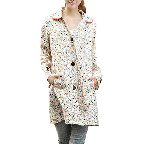TopTie Women's Packable Rain Jacket Waterproof Outwear Floral Raincoat BEIGE-XS