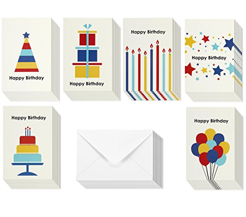 Rainbow Shapes Birthday Greeting Cards - 6 Assorted Designs with Balloons, Candles, Cake, Envelopes Included - 48 Pack