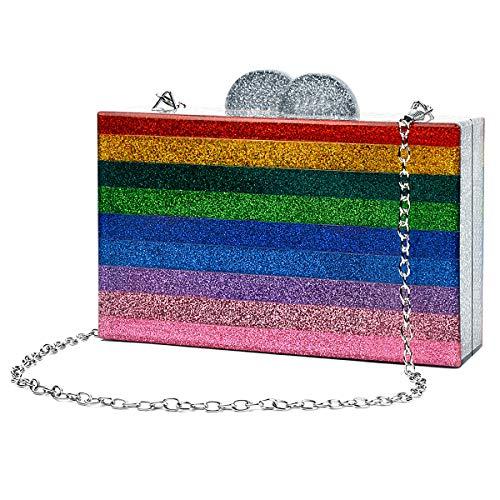 Handbag Pink Color Multi (Women Evening Handbag Acrylic Wedding Party Clutch Purse Crossbody Wallet Bag iPhone Phone)