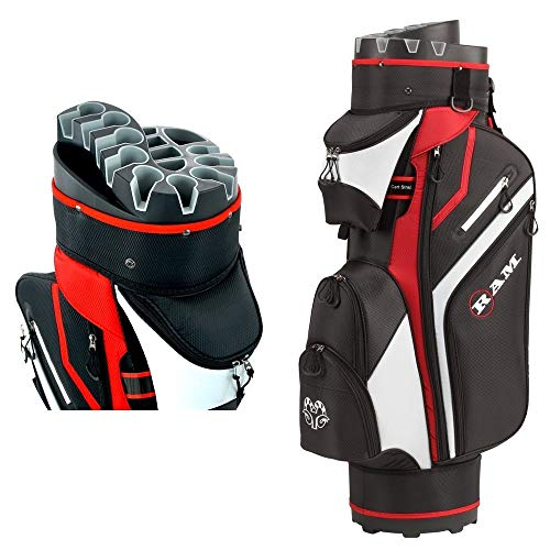 Ram Golf Premium Trolley Bag with 14 Way Molded Organiser Divider Top