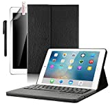 iPad Pro 10.5 Keyboard Case, Boriyuan Smart Case Stand Folio Leather Cover with Detachable Keyboard and Screen Protector +Stylus for Apple iPad Pro 10.5 inch 2017 (Black)