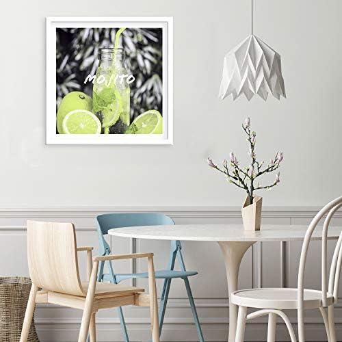 Feeby Photo encadr/ée Blanc Citron Boisson Mojito Art Moderne Cuisine Vert 40x40 cm