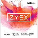 D'Addario Zyex Violin Single E String, 4/4 Scale, Light Tension