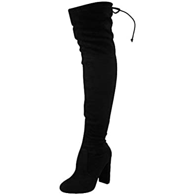 df13c5ca8c53 Black Stretch Suede Size 6 - WOMENS LADIES THIGH HIGH BOOTS OVER THE KNEE  PARTY STRETCH BLOCK MID HEEL  Amazon.co.uk  Shoes   Bags