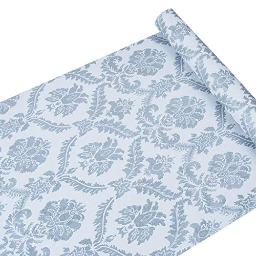 - Peel and Stick Decorative Blue Damask Contact Paper Wallpaper Self Adhesive Vinyl Shelf Drawer Liner for Kitchen Cabinets Sheves Drawer Wall Decal (17.7x197 Inches)