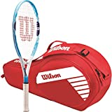 Wilson Serena Williams 25 Inch Pre-Strung Junior Tennis Racquet Set or Kit Bundled with a Red Junior 3-Pack Tennis Bag (Perfect for Kids Ages 9-10)