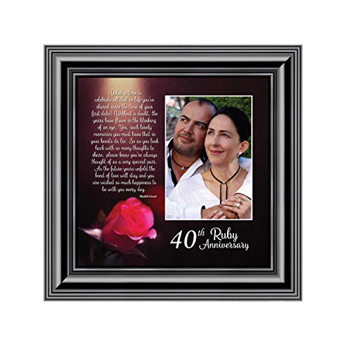 Ruby Anniversary, Personalized Ruby Wedding Anniversary Picture Frame, 40th Wedding Anniversary, 10x10 6307B