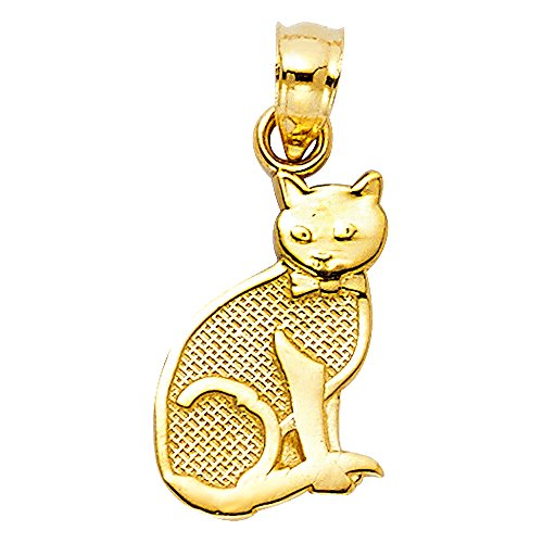 Solid 14k Yellow Gold Cat Pendant Kitten Charm Polished Diamond Cut Genuine Fancy 15 x 10 mm (Gold Cat Charm Yellow)