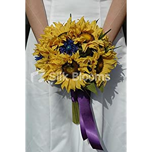 Beautiful Yellow Sunflower and Blue Cornflower Bridal Bouquet 31