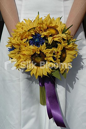 Amazon beautiful yellow sunflower and blue cornflower bridal beautiful yellow sunflower and blue cornflower bridal bouquet mightylinksfo