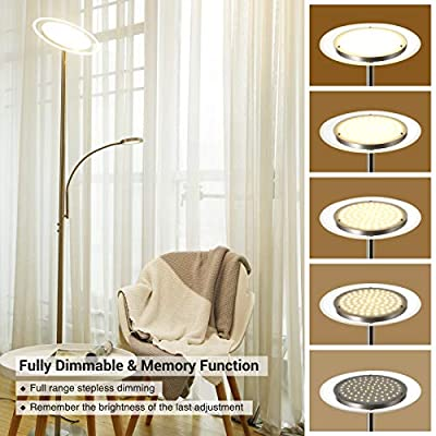"DEWENWILS 71"" LED Torchiere Floor Lamp with Reading Light, Glass Light Diffuser, Dimmable Uplight, Tall Standing Modern Pole lighting for Living Room Bedroom Office, Compatible with Smart Plugs/Timers"