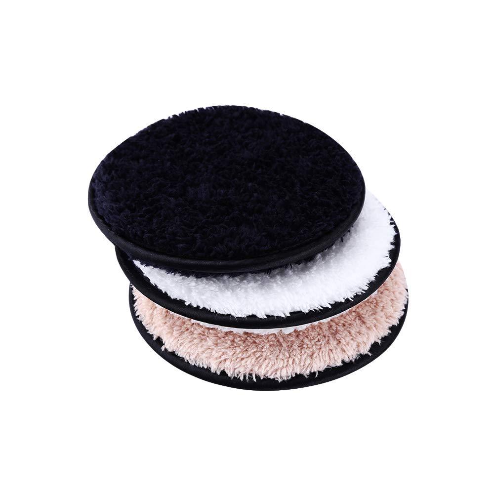 Lurrose 3 stücke Make-Up Entferner Tuch Pads Waschbar Gesichtsreinigung Puffs Wiederverwendbare Plüsch (Weiß + Kaffee + Schwarz)