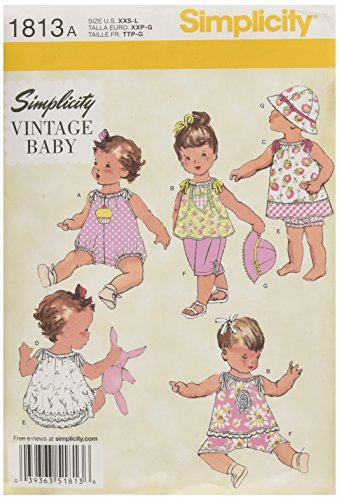 Simplicity 1813 Babies Dress and Separates Sewing Pattern, Size A (XXS-XS-S-M-L) (Vintage Hat Patterns)