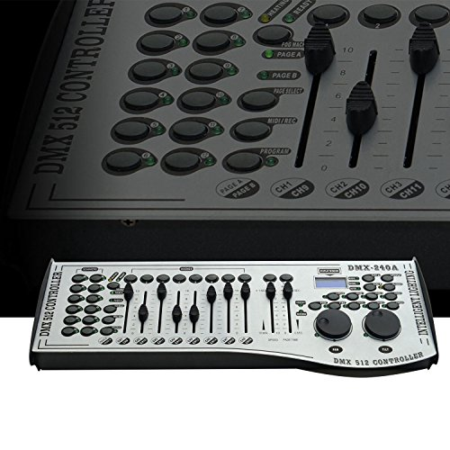 DMX 512 Controller - 12 Lights 16 Channels 240 Scenes DMX Controller for LED Stage Lighting, DJ lights, Lasers, Moving heads & Par Lights