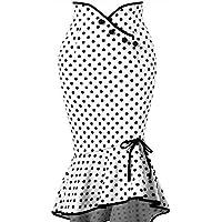 Women Polka Dot Botton Ruffles Skirt Sexy Casual Tight-Fitting Hip Party Skirt