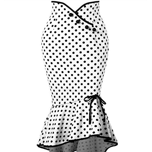 Women Polka Dot Botton Ruffles Skirt Sexy Casual Tight-Fitting Hip Party Skirt White -