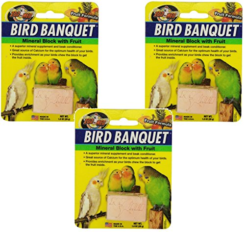 Zoo Med Laboratories Bird Banquet Fruit Mineral Blocks, Small (3 Pack) (Mineral Pineapple)